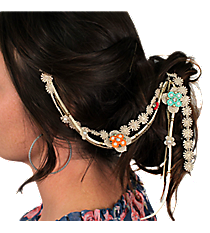 Beaded Lace Flowers Hair Clip In #IH0088-GMT