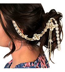 Goldtone and Pearl Beaded Lace Flowers Hair Clip In #IH0088-GPL