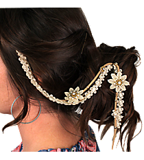 Goldtone and Pearl Beaded Lace Flowers Hair Clip In #IH0089-GPL
