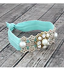 Crystal, Pearl and Goldtone Beaded Mint Hair Tie #IH0099-GTQ