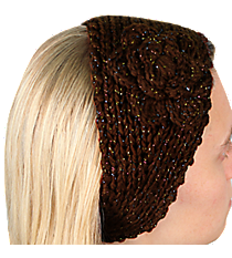 Iridescent Accented Brown Crochet Headwrap with Flower #IH0131-B