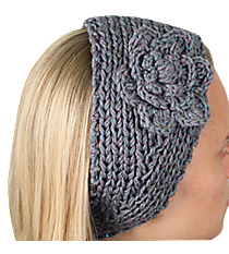 Iridescent Accented Grey Crochet Headwrap with Flower #IH0131-GR