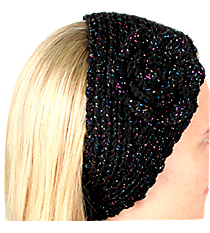 Iridescent Accented Black Crochet Headwrap with Flower #IH0131-J