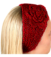 Iridescent Accented Red Crochet Headwrap with Flower #IH0131-R