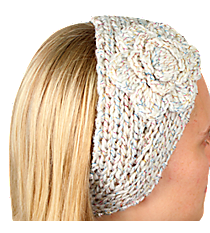 Iridescent Accented Winter White Crochet Headwrap with Flower #IH0131-W