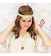 Crystal and Clear Beaded Lace Headband #IH0199-W