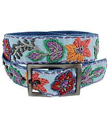 Blue with Woven Flowers Belt #IL0006-RHA