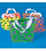 ONE DOZEN NEON POLKA DOT CANVAS TOTE BAGS #14/237