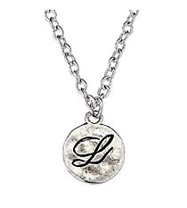 "16"" Hammered Silvertone ""L"" Monogram Initial Pendant Necklace #7893N-SL-L"
