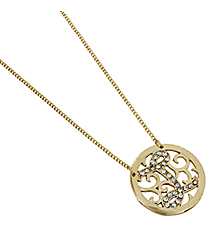 "16"" Goldtone Crystal Accented ""I"" Initial Necklace #JN0389GCR-I"