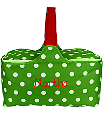 Green with White Polka Dots Insulated Basket with Lid #81368
