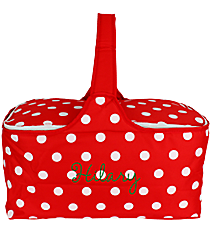 Red with White Polka Dots Insulated Basket with Lid #81368