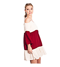 Kiss The Quarterback Colorblock Dress #C7108-IVORY/BURGUNDY *Choose Your Size