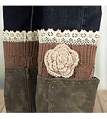 One Pair of Flower Accented Brown Crochet Leg Warmers #IW0015-B