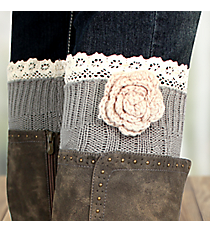 One Pair of Flower Accented Sage Gray Crochet Leg Warmers #IW0015-GR