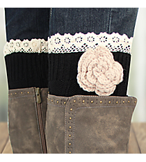 One Pair of Flower Accented Black Crochet Leg Warmers #IW0015-J