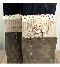 One Pair of Flower Accented Natural Crochet Leg Warmers #IW0015-N
