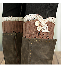One Pair of Brown Crochet Leg Warmers #IW0016-B