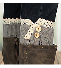 One Pair of Sage Gray Button Accented Crochet Leg Warmers #IW0016-GR