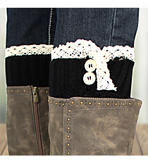One Pair of Black Crochet Leg Warmers #IW0016-J