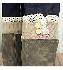 One Pair of Natural Crochet Leg Warmers #IW0016-N
