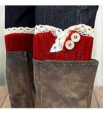One Pair of Red Crochet Leg Warmers #IW0016-R