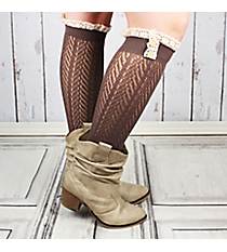 One Pair of Button Accented Brown Knee-High Lace Socks #IW0036-B