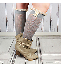 One Pair of Button Accented Sage Gray Knee-High Lace Socks #IW0036-GR