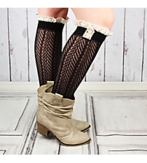 One Pair of Button Accented Black Knee-High Lace Socks #IW0036-J