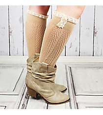 One Pair of Button Accented Natural Knee-High Lace Socks #IW0036-N