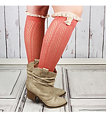 One Pair of Button Accented Coral Pink Knee-High Lace Socks #IW0036-P