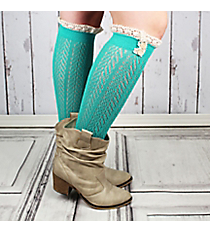 One Pair of Button Accented Turquoise Knee-High Lace Socks #IW0036-TQ