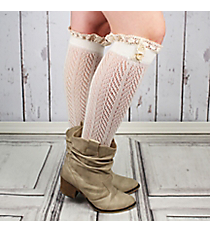 One Pair of Button Accented Ivory Knee-High Lace Socks #IW0036-W