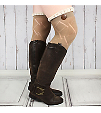 One Pair of Brown Diamond Pattern Over-The-Knee Lace Socks #IW0040-B