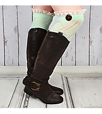 One Pair of Mint Diamond Pattern Over-The-Knee Lace Socks #IW0040-E