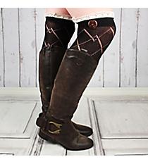 One Pair of Black Diamond Pattern Over-The-Knee Lace Socks #IW0040-J