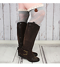 One Pair of Sage Gray Diamond Pattern Over-The-Knee Lace Socks #IW0040-GR