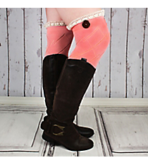 One Pair of Bright Pink Diamond Pattern Over-The-Knee Lace Socks #IW0040-P