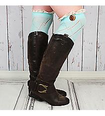 One Pair of Light Aqua Diamond Pattern Over-The-Knee Lace Socks #IW0040-TQ