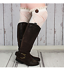 One Pair of Ivory Diamond Pattern Over-The-Knee Lace Socks #IW0040-W