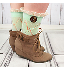 One Pair of Mint Diamond Pattern Ankle Lace Socks #IW0042-E