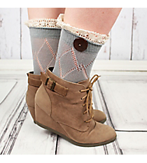 One Pair of Sage Gray Diamond Pattern Ankle Lace Socks #IW0042-GR