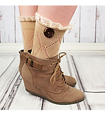 One Pair of Natural Diamond Pattern Ankle Lace Socks #IW0042-N