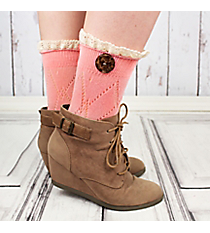 One Pair of Bright Pink Diamond Pattern Ankle Lace Socks #IW0042-P