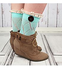One Pair of Light Aqua Diamond Pattern Ankle Lace Socks #IW0042-TQ