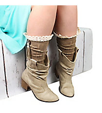 One Pair of Button & Tassel Accented Brown Knee-High Boot Socks #IW0044-B