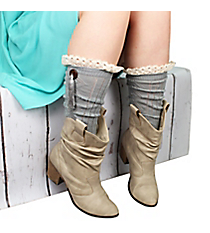 One Pair of Button & Tassel Accented Sage Gray Knee-High Boot Socks #IW0044-GR