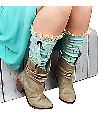 One Pair of Button & Tassel Accented Turquoise Knee-High Boot Socks #IW0044-TQ