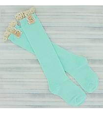 One Pair of Girls Light Aqua Knee-High Lace Socks #IW0049-TQ