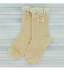 One Pair of Girls Natural Ankle Lace Socks #IW0050-N